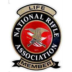 NRA 4x3'' LIFE MEMBER Decal. National Rifle Association. New Vinyl OUTSIDE WINDOW