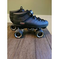 Riedell Carrera Speed Roller Skates Size 9 Black Leather 96a Sure Grip Wheels