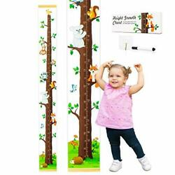 Evelto Height Growth Chart for Kids - Measuring Canvas Ruler, Funny Colorful