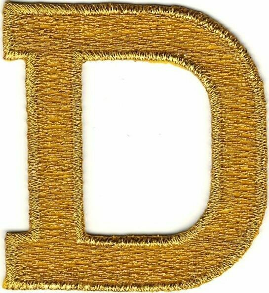gold foil letters monogram metallic gold block letter d embroidery patch ebay 21958