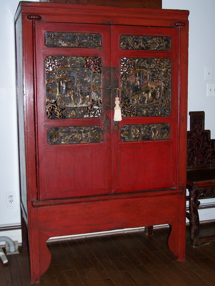 chinese antique red armoire