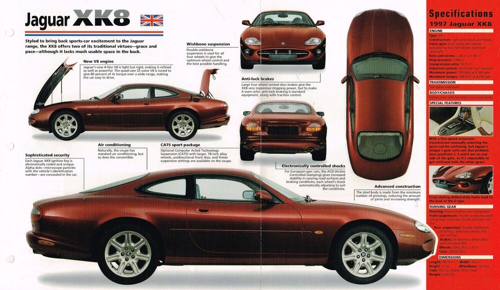 1996 1997 jaguar xk8 xk 8 spec sheet brochure catalog ebay. Black Bedroom Furniture Sets. Home Design Ideas