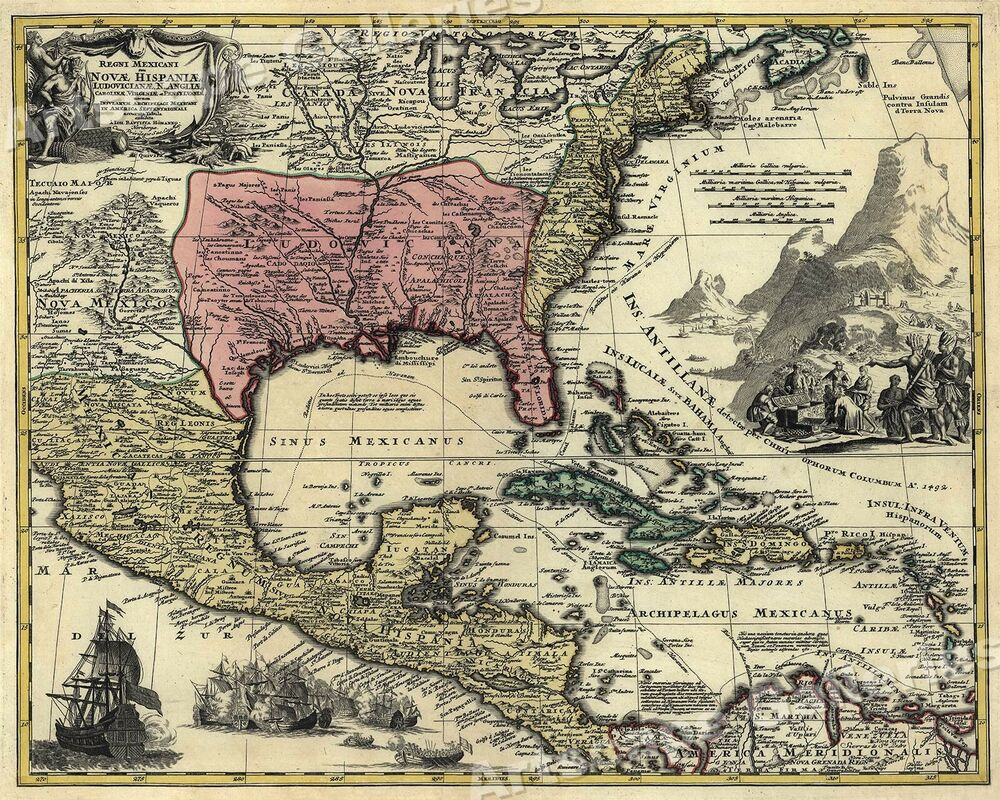 Historic  Map Of New Spain Spanish Colonies X EBay - Map of north america 1700