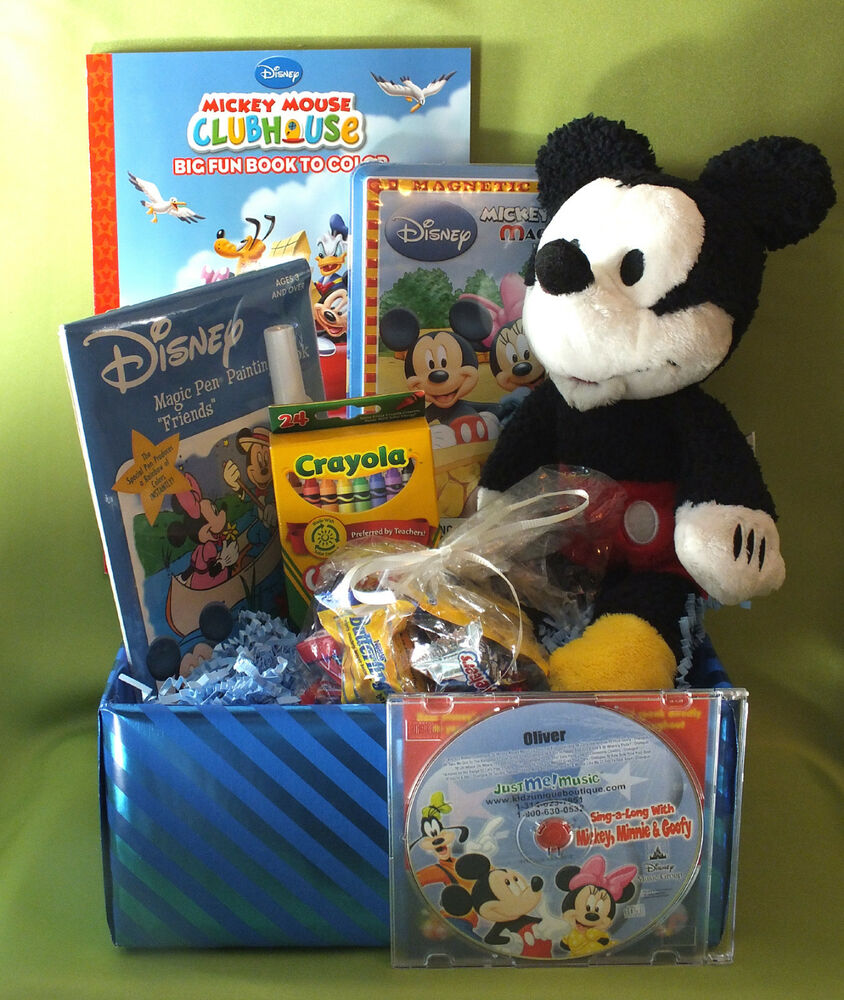 mickey mouse gift basket w personalized cd name 86xs licensed brand named