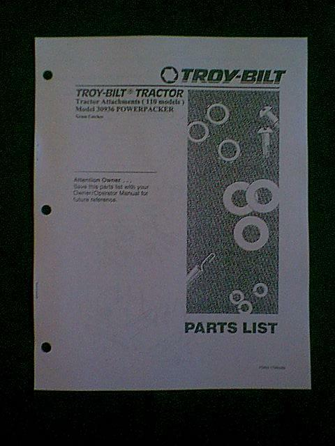 Troy Bilt Lawn Mower Parts >> TROY BILT TRACTOR 110 MODELS POWERPACKER BAGGER MANUAL | eBay
