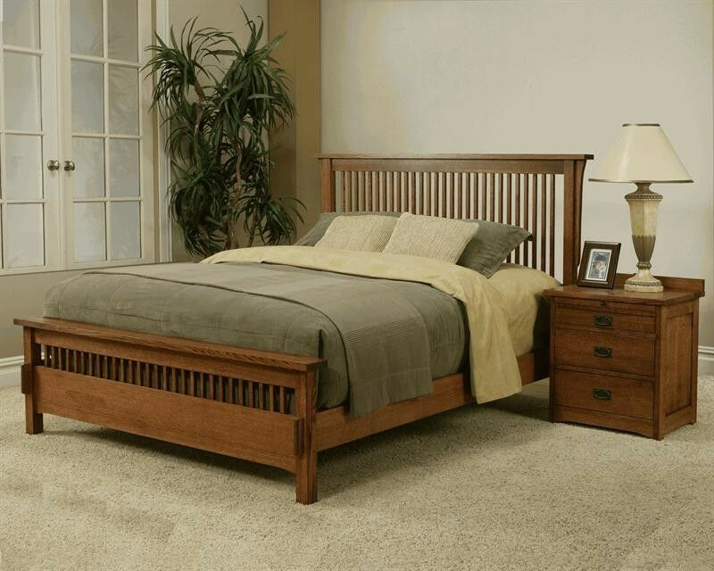 Made in the usa queen mission rift quarter sawn oak bed for Bedroom furniture usa