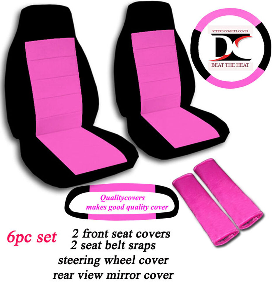 6 piece black and hot pink seat covers accessories included ebay. Black Bedroom Furniture Sets. Home Design Ideas