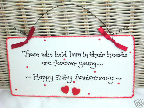 What Gift For 40th Wedding Anniversary: RUBY 40th WEDDING ANNIVERSARY Gift Present Sign Plaque