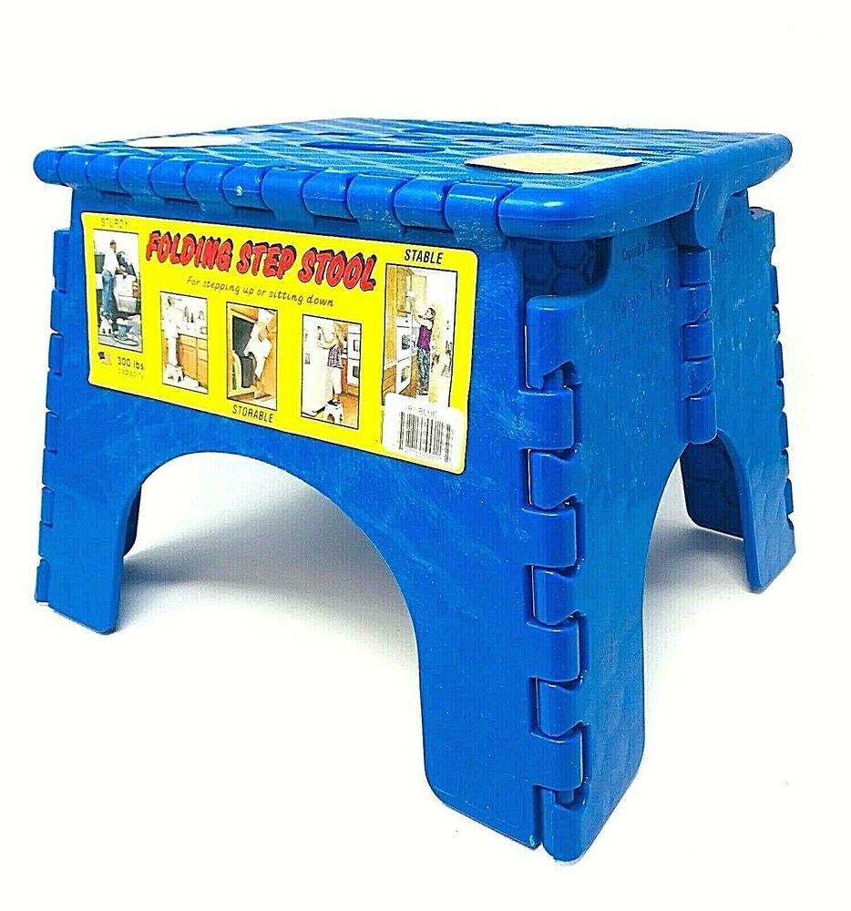 Sturdy E Z Foldz Step Stool Easy Folding Stool Blue Ebay