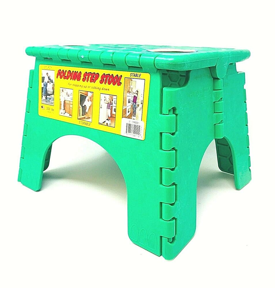 Sturdy E Z Foldz Step Stool Easy Folding Stool Green Ebay