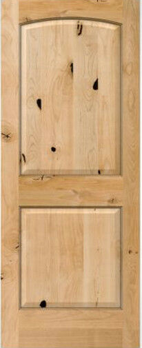 2 panel arch top knotty alder raised solid core interior wood doors 6 39 8 prehung ebay for Solid wood panel interior doors