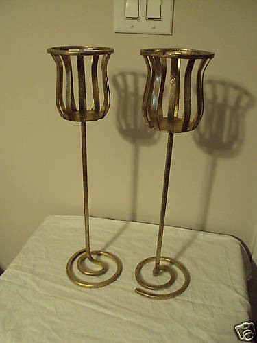 Tall Metal Pillar Candle Holders : Pair of gold metal pillar candle holder inch tall ebay