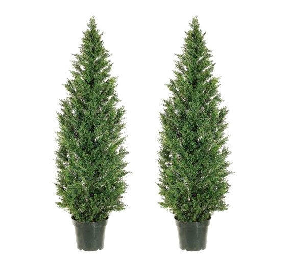 Two Become One Decorative Trees: 2 Artificial 6' Cedar Topiary Tree In Outdoor Plant Decor