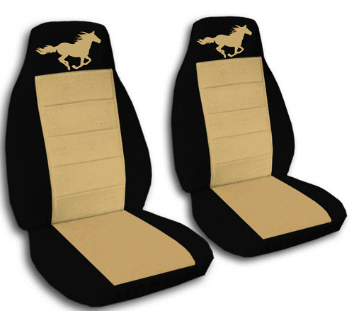 2 Cool Running Horse CAR SEAT COVERS BLK TAN AWESOME