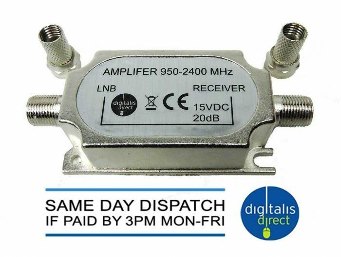 In Line Signal Amplifier Sky Satellite Tv Booster 2 F