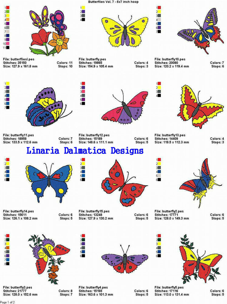 Butterflies v 7 5x7 ld machine embroidery designs ebay for Embroidery office design 7 5 full