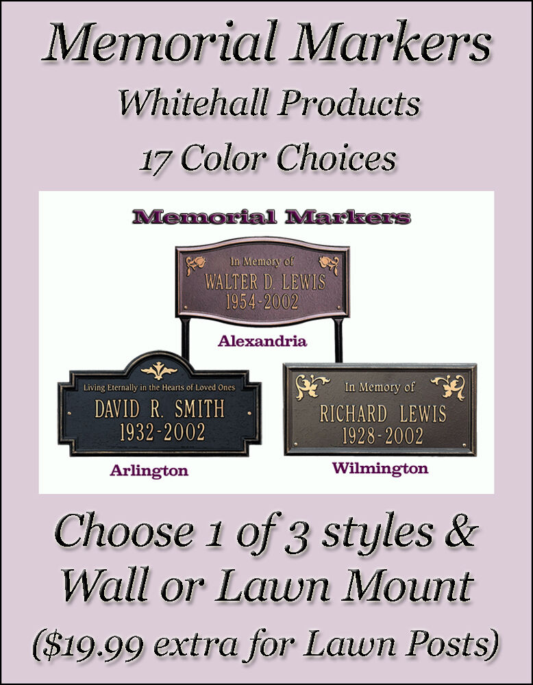 whitehall memorial dedication plaques 3 plaque styles. Black Bedroom Furniture Sets. Home Design Ideas