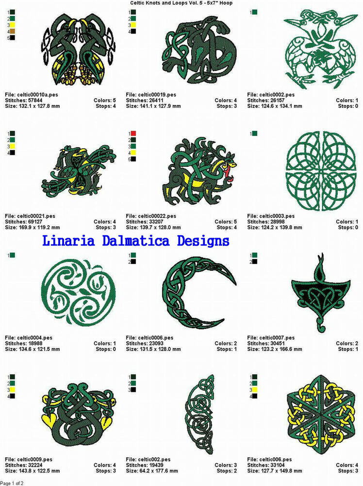 Celtic designs v5 5x7 machine embroidery designs ebay for Embroidery office design version 7 5