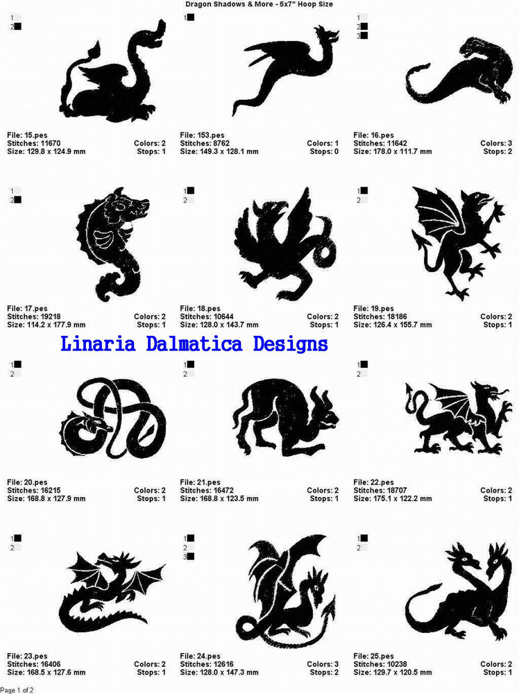 Dragon shadows more 5x7 multi format machine for Embroidery office design version 7 5