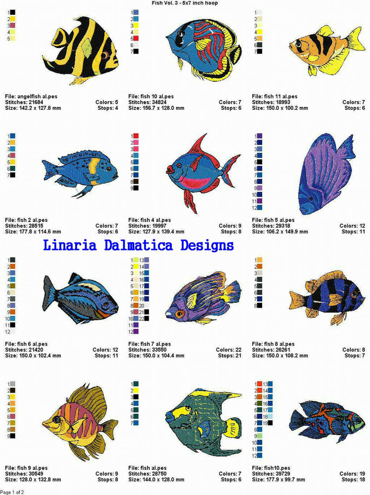 Fancy fish v 3 5x7 ld machine embroidery designs ebay for Embroidery office design version 7 5