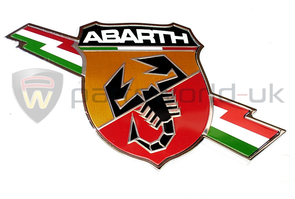fiat abarth 500 punto grande evo lightning side abarth logo badge new genuine ebay. Black Bedroom Furniture Sets. Home Design Ideas