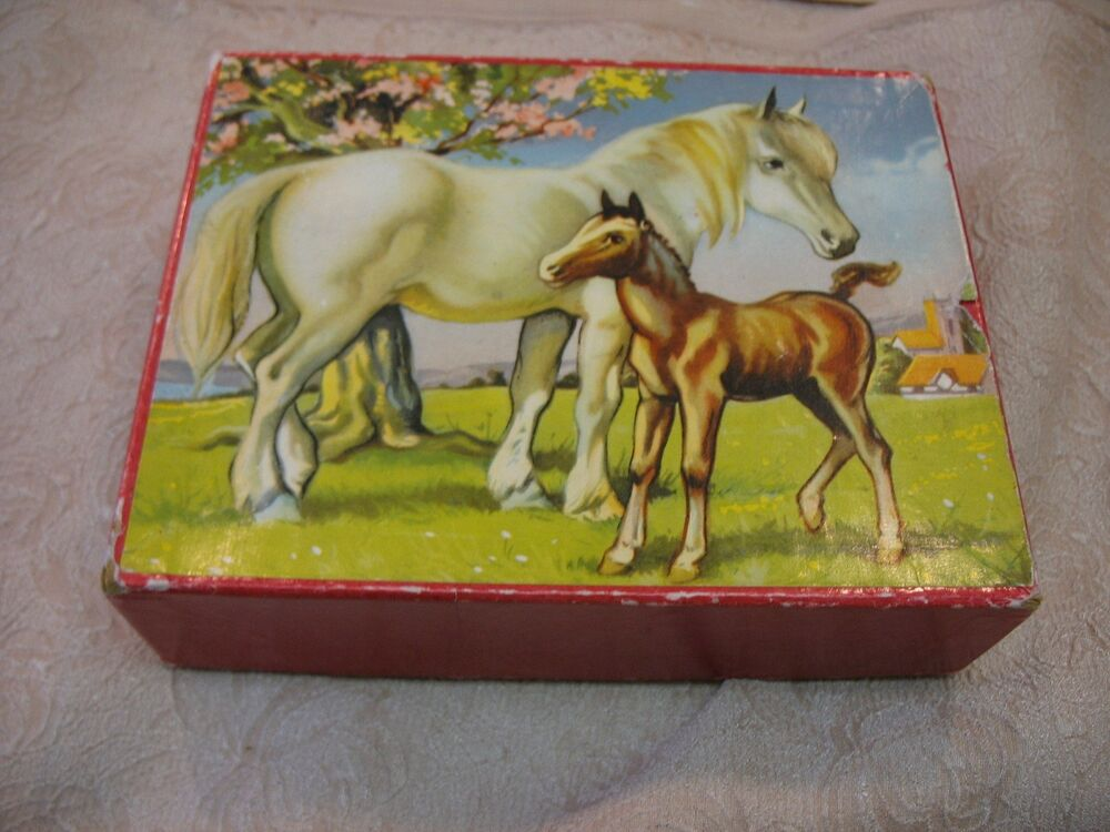 Vintage Wood Block Animal Puzzle Dog Horse Cat Bear Ebay