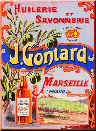 French advertising sign j gontard olive oil soap ebay for Plaque deco cuisine retro