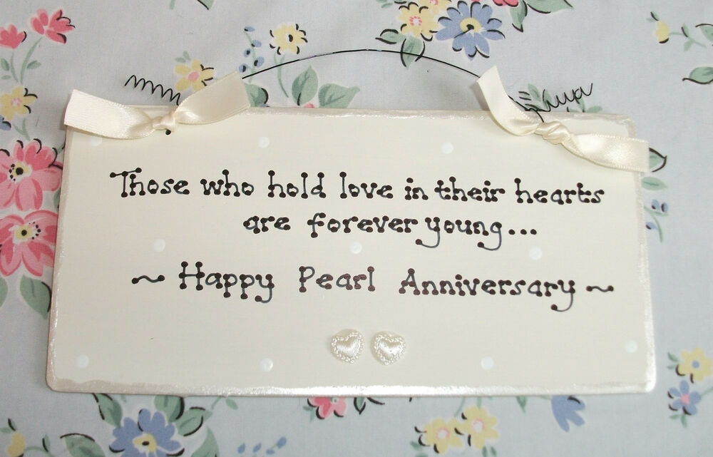 Pearl Gift Ideas For 30th Wedding Anniversary: PEARL 30th WEDDING ANNIVERSARY Gift Present Sign Plaque