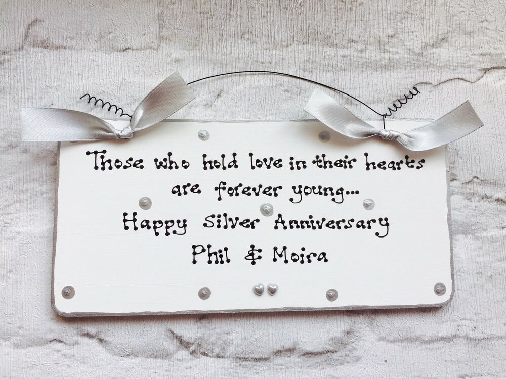 Silver 25th Wedding Anniversary Gift Present Sign Plaque Can Be