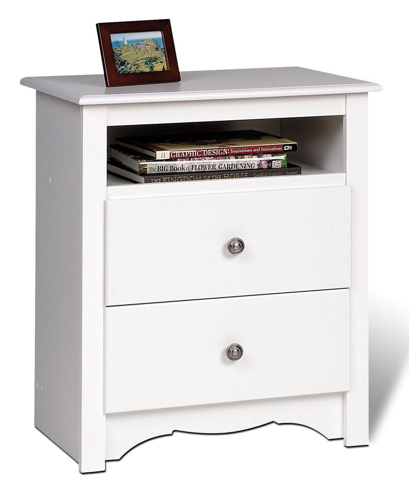 furniture tall sonoma 2 drawer night stand white new ebay. Black Bedroom Furniture Sets. Home Design Ideas