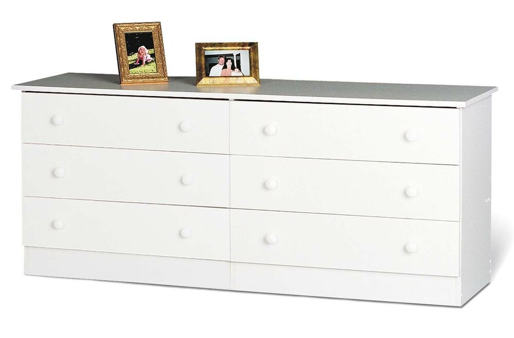 Home furniture 6 drawer bedroom dresser white new ebay for White bedroom chest of drawers