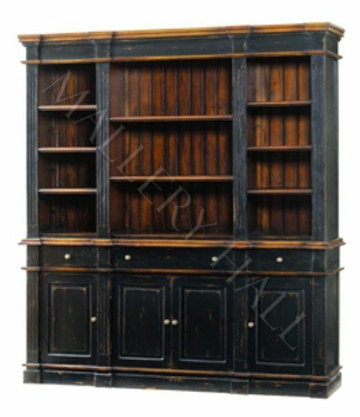 Casual Distressed Grand Library Wall Unit Bookcase Ebay