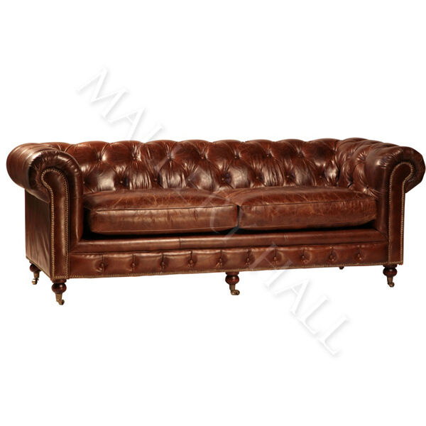 Vintage Black Leather Chesterfield Sofa: Vintage Chesterfield Distressed Aged Leather Tufted Sofa