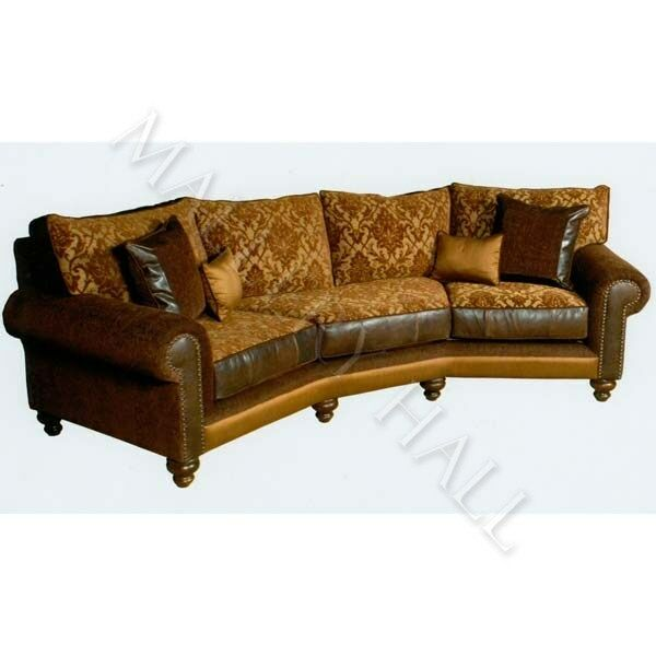 Fabric And Leather Sofas: XL Curved Top Grade Brown 100% Leather & Fabric Sofa