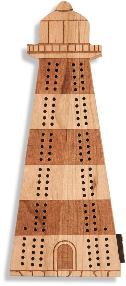 New game 10 quot deluxe solid cherry wooden lighthouse cribbage board with