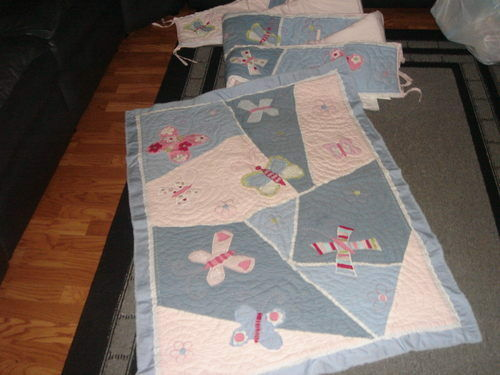 POTTERY BARN KIDS SOPHIE BUTTERFLY CRIB QUILT SET BED