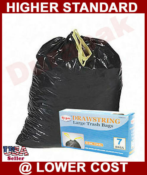 Trash Can Liner Bags : Gallon drawstring black large trash can liner bags