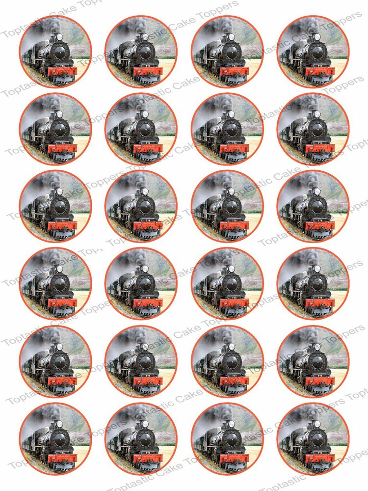 """24 Steam Train Edible Icing 1.5"""" Cupcake Toppers 