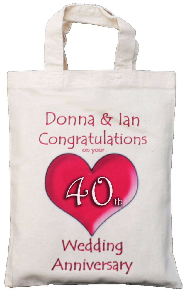 Ruby Wedding Anniversary Gift For Parents Uk : PERSONALISED - 40th WEDDING ANNIVERSARY GIFT BAG Ruby eBay