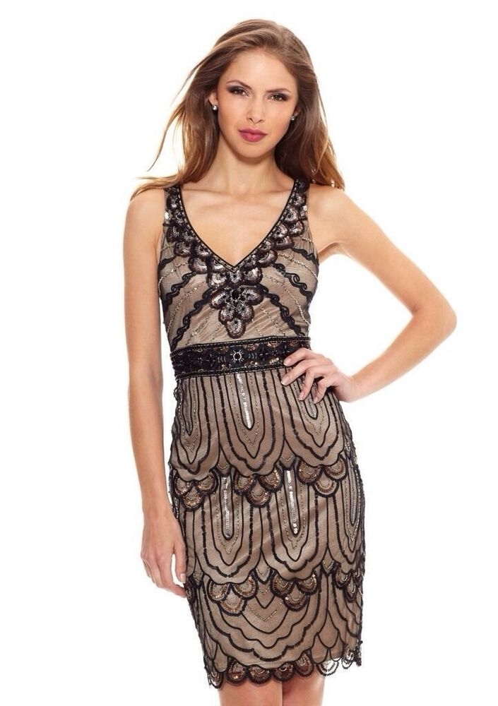 New Sue Wong Black Nude Beaded Short Formal Party Cocktail