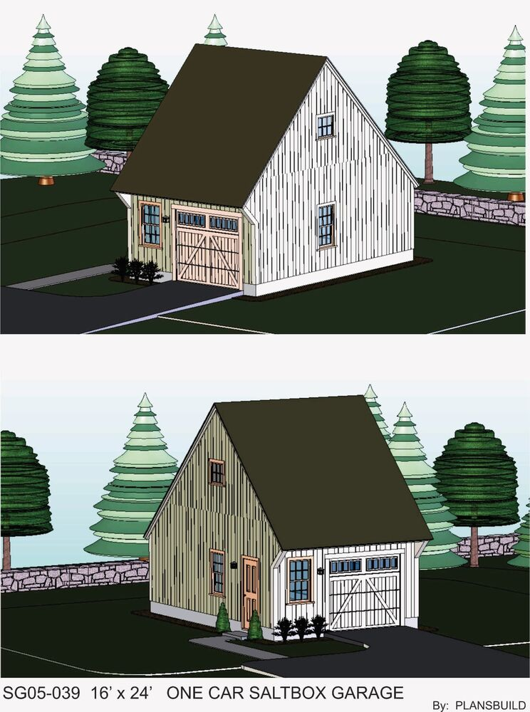 Garage plans blueprints 16 ft x 24ft salt box ebay for Saltbox garage plans
