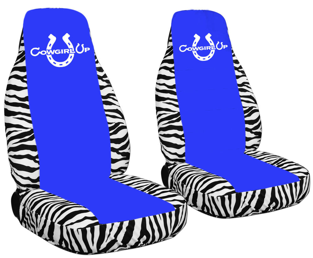 White Zebra Seat Covers With A Medium Blue Center Cowgirl