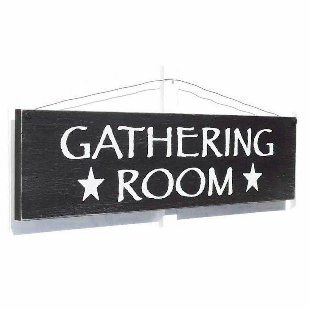 Gathering room rustic distressed farmhouse style large for Room decor signs