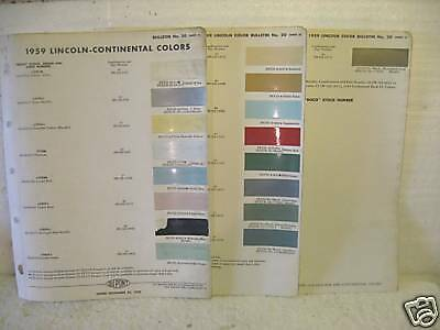 1959 LINCOLN DUPONT PAINT COLOR CHIP FORMULA CHART | eBay
