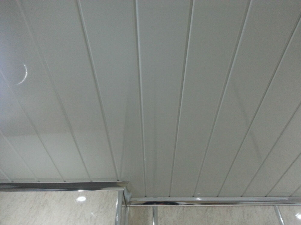 Pvc Kitchen Paneling : Twin white v groove cladding panels kitchen ceiling