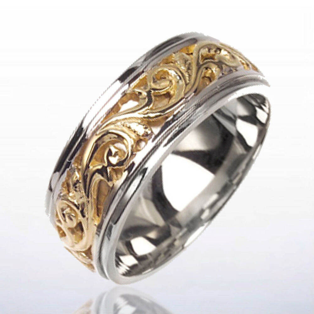 14k 2 Two Tone Gold Men S Wedding Band Victorian Design Ebay