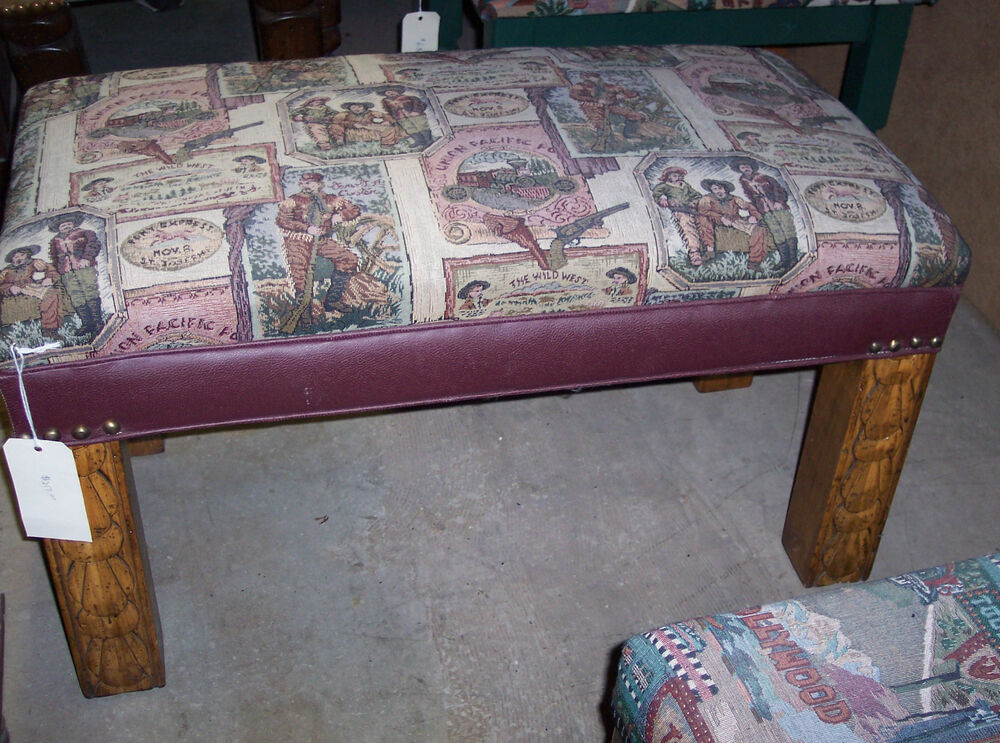 Rustic Wild West Print End Of Bed Bench Bn60 Ebay