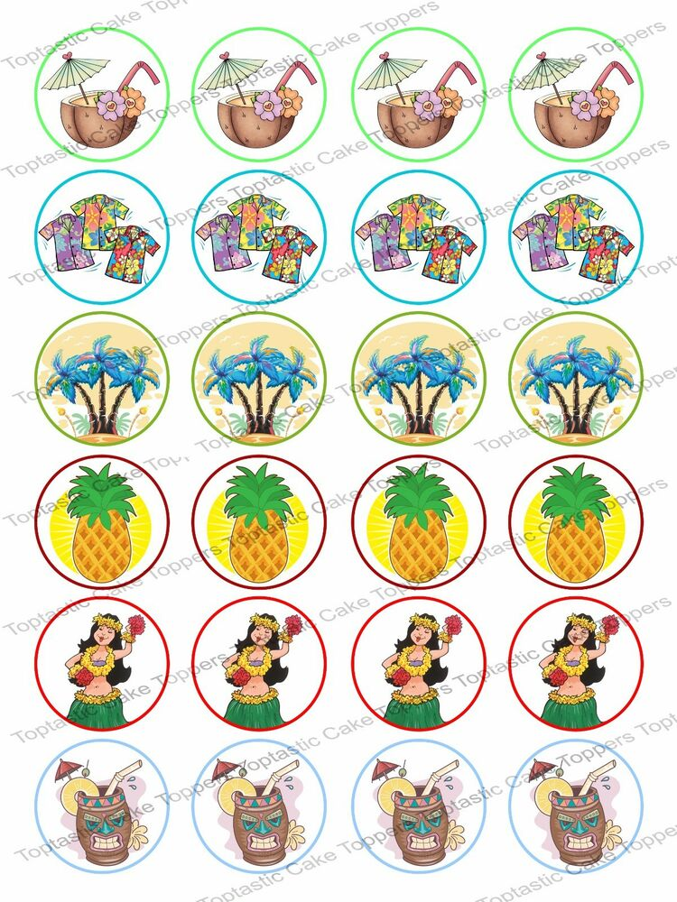 Edible Luau Cake Toppers