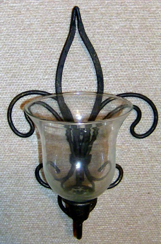 Wall Sconce For Votive Candles : Rustic Metal Iron Wall Sconce w/Clear Glass Votive VGC Free Ship to USA eBay