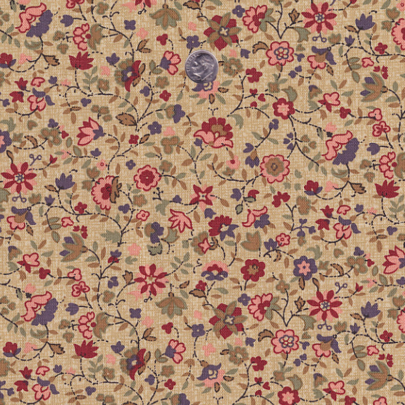 Cotton upholstery curtain fabric antique tiny floral beige for Floral upholstery fabric